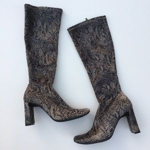 Chinese Laundry Squared Heel Snake Skin Boots 6.5
